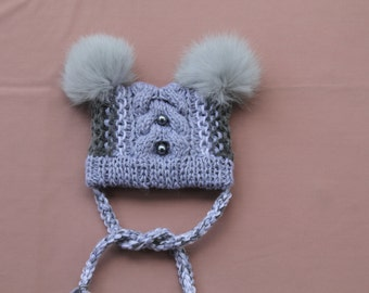 Baby Puffball Hat-Winter Hat for Baby-Baby Girl Winter Hat-Crochet Baby Hat for Winter-Baby Winter Hat-Gray Baby Hat