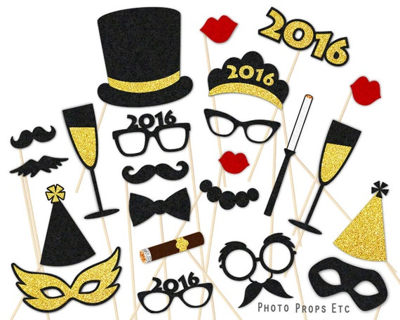 2016 New Year's Eve Accessories - Party Props - Photo Booth Favor - Black and Gold - Champagne Pop