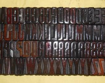 120 piece Unique Letterpress wood wooden type printing blocks used.Es18