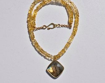 Yellow orange citrine necklace, diamond shape labradorite pendant, gold gemstone jewelry, thank you gift, November birthstone, birthday gift