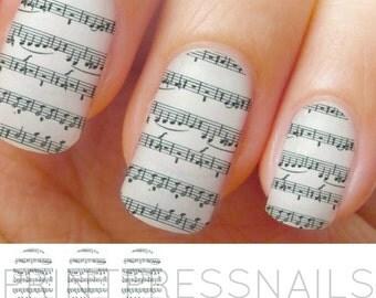 Music Notes Black and White Nail Strips, Nail Art, Nail Decal, Nail Tattoo, Nail Stickers