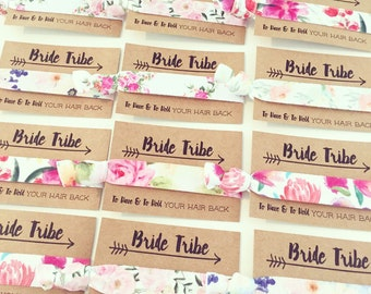 ASSORTED FLORAL Bride Tribe Hair Tie Favors | Flower Bachelorette Hair Ties, Boho Floral Bachelorette Hair Tie Favor, Bridesmaid Gift
