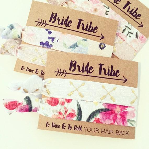 Bride Tribe Floral Bachelorette Hair Tie Favor | Boho Hair Tie Bridesmaid Gift, Aztec Tribal Boho Bachelorette Party, Arrows Floral Prints