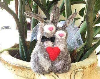 Woodland wedding cake topper woodland needle felted Hare wedding cake topper hare bride and groom mr and mrs rabbit bunny felt felting cute