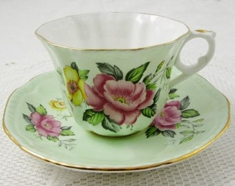 Green Consort Tea Cup and Saucer with Pink and Yellow Flowers, Vintage Bone China