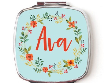Compact Mirror, Personalized Pocket Mirror, Floral Wreath Design, Custom Name, Bridesmaid Gift, Bridal Party Mirrors