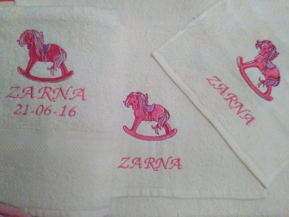 Personalized Baby Gift Baskets Rocking Horse : Pink rocking horse personalized girls towel set by