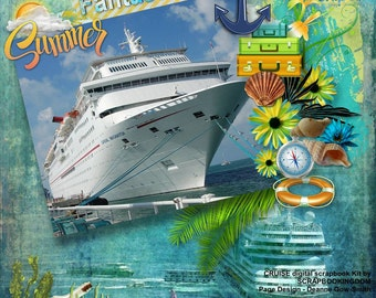 CRUISE scrapbook kit vacation on cruise ship theme swimming,boating, nautical embellishments,palms, seaweed ,shells,word art, cruise stamps