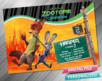 ZOOTOPIA INVITATION - Zootopia Birthday Invitation