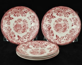 Vintage Alfred Meakin Red Tonquin Pattern Transferware Saucers - Set of Five