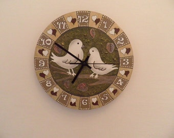 Doves wall clock pigeons hand painted wall clock Birds wall clock office wall clock unique wall clock