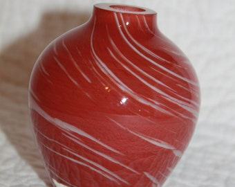 K5 Rustic Looking Heavy Glass Bud Vase or Diffuser Cheasapeake Bay Candle Company Brown White Swirled Pattern