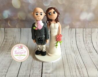Scottish Bride and Groom (kilt) Wedding Cake Topper - Keepsake