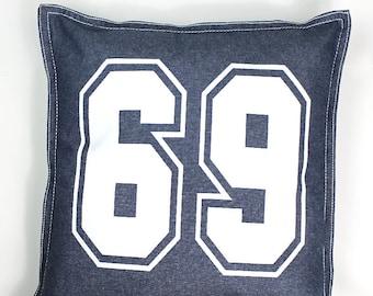 "Marek+Ricard ""69"" Denim Throw Pillow- Blue"