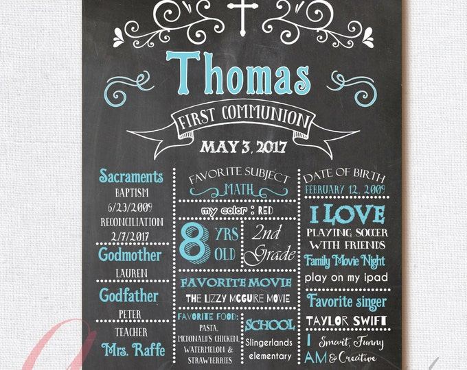 Paper party supplies etsy coupon codes chalkboard poster first communion poster first communion chalkboard poster boy first holy communion gumiabroncs Image collections