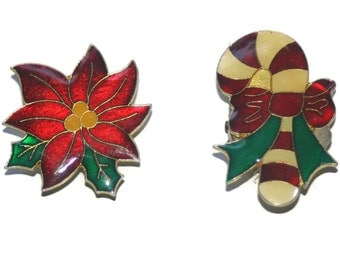 Vintage Enameled Christmas Button Covers