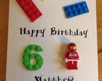 Personalised Lego style birthday card