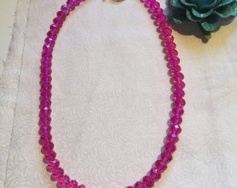 Hot Pink Beaded Necklace