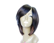 Wishe Grape2: Custom Made 100% Remy Human Hair Wig- Narrow Deep Side Upart Bob with side bang-Lovely Cute Hairstyle -Black Light Brown Ombre