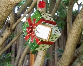 Christmas ornament- Hand painted ornament package with Holly , green lid with Red Ribbon. Can be Personalized
