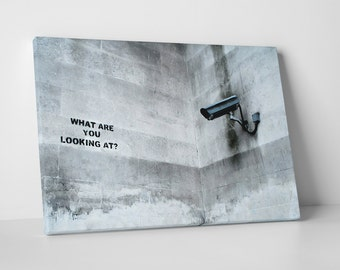 What Are You Looking At? by Banksy Gallery Wrapped Canvas Print. BONUS! BANKSY DECAL!