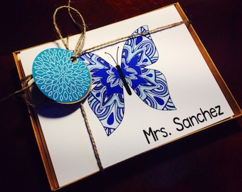 Personalized Notecard Butterfly Teacher Name Teacher Bridesmaid Gift - GYPSY BUTTERFLY