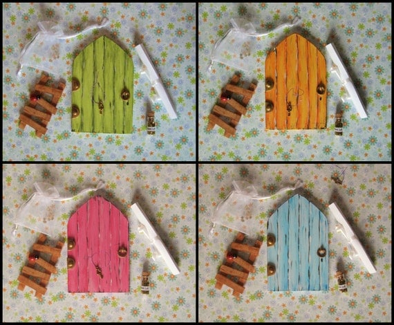 Fairy door with ladder fairy dust and key by for Fairy door with key