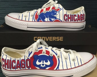 custom, hand-painted Chicago Cubs Converse