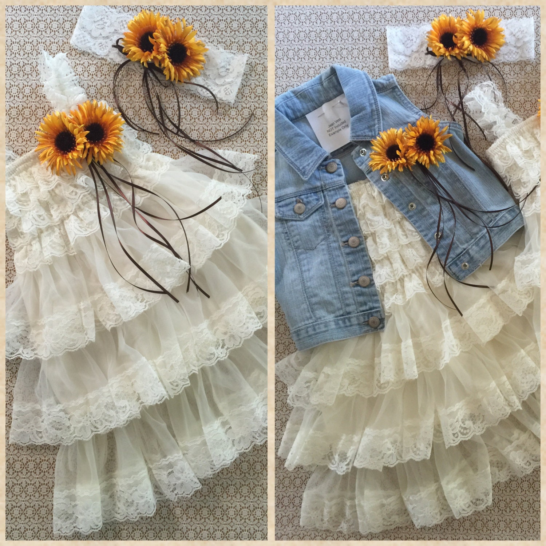Ivorycream country wedding flower girl dress embellished with a ivorycream country wedding flower girl dress embellished with a removable yellow sunflowers and a mightylinksfo