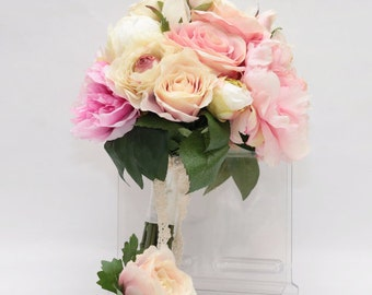 Silk touch Pink rose, Beige ranunculus, Light and Hot pink peony off-white hydrangea wedding bridal bouquet and boutonniere set