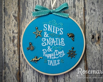 "Embroidered Snips and Snails Nursery Rhyme 5"" Embroidery Hoop and Antique Bronze Charms"