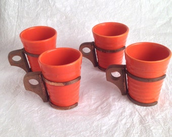 4-1940s Ribbed Bauer Ring Ware coffee cups