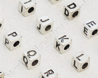 Small Sterling Silver Alphabet Cube Bead, 3.8 x 3.9mm, 925 Sterling Initials, Wholesale Silver Letters, USA Seller, Fast Shipping (S904)