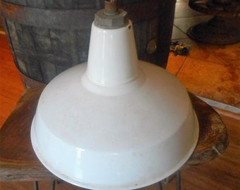 Vintage large white porcelain barn light/industrial light