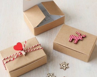10x Kraft DIY Gift & Favour Boxes 7.5 x  5 x 2.5cm