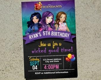 Descendants Birthday Invitation Descendants Invitation Descendants Invite Free Thank you Card Included - Birthday Invitation