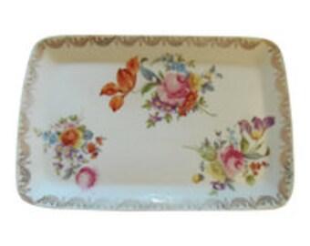 Antique Porcelain Vanity Tray,Floral Gold Trim Dresser Vintage Royal Sorez Germany