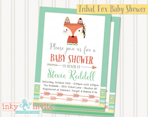 Tribal fox baby shower invitation baby boy woodland animals invite il570xn filmwisefo