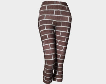 Brick By Brick    Capris/Yoga Pants/Womens/Teens/Yoga/Exercise/Wearable Art/Clothing/Ladies XS S M L XL