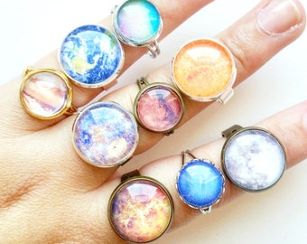 Planet Ring // Moon Ring // Planet Jewelry // Cameo Ring // Space Jewelry // Planet Gift // Space Gift