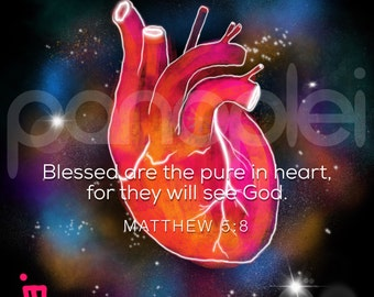 Bible Verse Wall Art - Scripture Art - Matthew 5:8 - Beatitudes - Blessed Are The Pure In Heart - They Will See God - 8x8 Photo Print