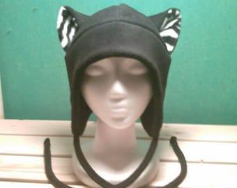 Black Zebra Cat Hat - Zebra Ears - Zebra Cat - Earflap Cat Hat - Cat Aviator Hat - Cat Cosplay Hat - Cat Costume - Cat Ears - Cat Ear Hat