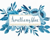 Watercolor hand painted something blue floral wedding clipart