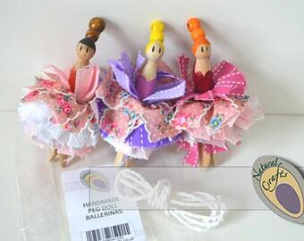 Handmade Peg Doll Ballerinas