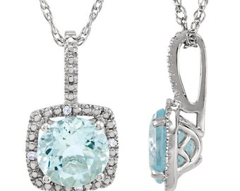925 Sterling Silver 7mm Aquamarine & .015 CTW Diamond Halo Birthstone Necklace 18 inches with 1.28 Carat Natural Citrine