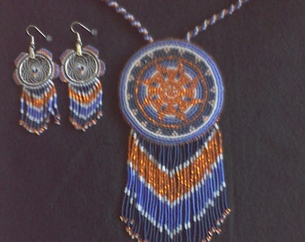 Beaded medalion and earrings set