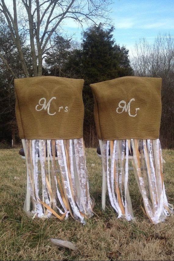 mr mrs rustic wedding chair covers