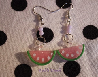 Watermelon earrings pink