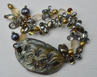 Tribal mixed media bracelet WondrousStange - DayLilyStudio