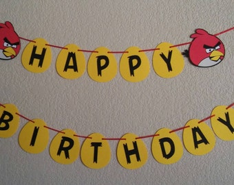 Angry bird Happy Birthday banner. Red angry bird. Great for birthdays. Free shipping USA